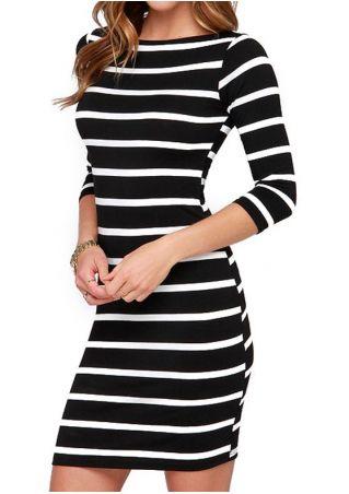 Striped Three Quarter Sleeve Mini Dress