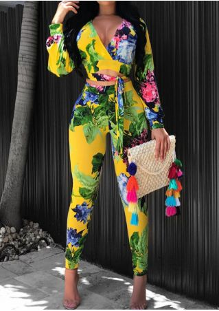 Floral Crop Top and Pants Set with Belt