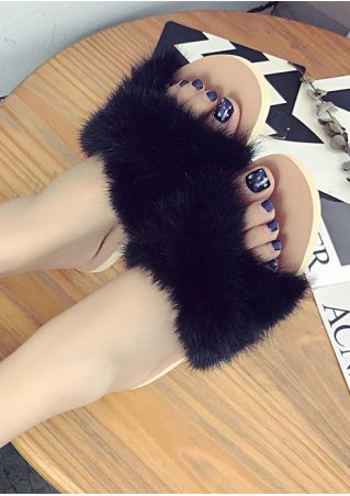 Faux Fur Fluffy Flat Slippers
