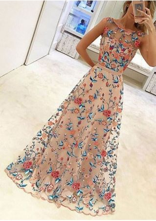 Embroidery Double Layered See-Through Maxi Dress
