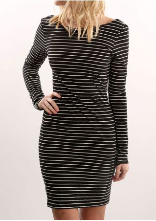 Striped Backless Long Sleeve Bodycon Dress