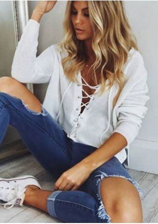 Solid Lace Up Deep V-Neck Blouse