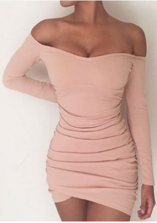 Solid Ruched Off Shoulder Bodycon Dress