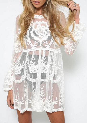 Solid Lace Floral See-Through Cover Up