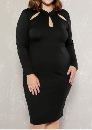 Plus Size Solid Hollow Out Bodycon Dress