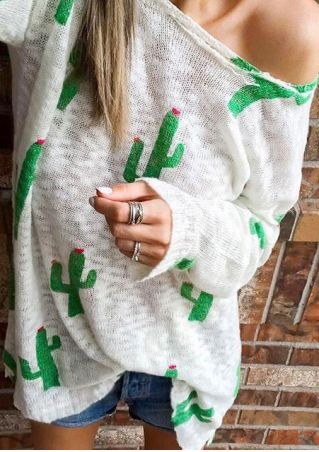Cactus Printed Long Sleeve Sweater