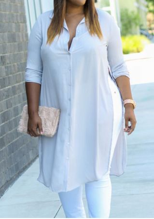Plus Size Solid Slit Long Sleeve Shirt