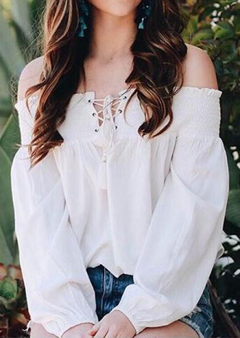 solid lace up off shoulder blouse
