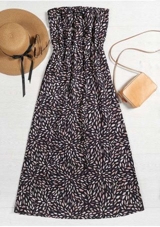 Printed Strapless Sleeveless Maxi Dress
