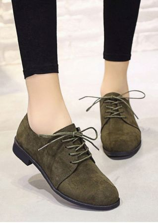 Solid Lace Up Flats