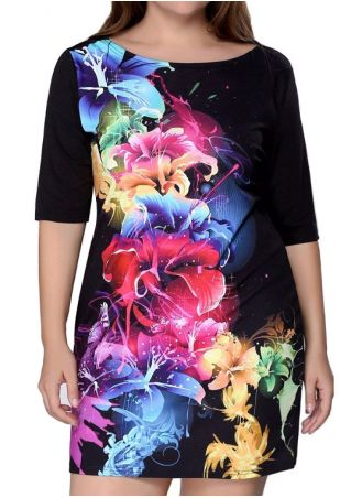Plus Size Multicolor Floral Half Sleeve Causal Dress