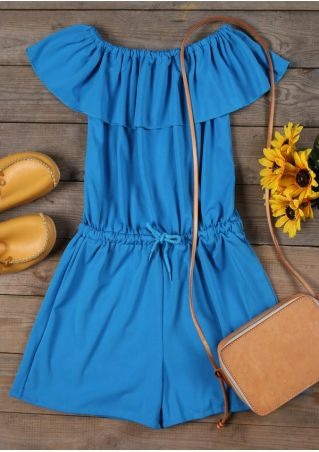 Solid Flouncing Drawstring Off Shoulder Romper