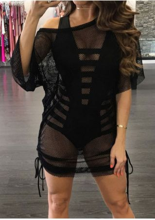 Solid Tie See-Through Mini Dress without Necklace