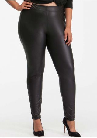Plus Size Solid Elastic Waist Faux Leather Pants