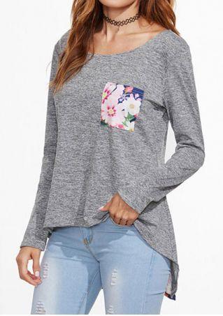 Floral Pocket Asymmetric Blouse without Necklace