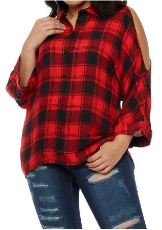 Plus Size Plaid Button Cold Shoulder Shirt