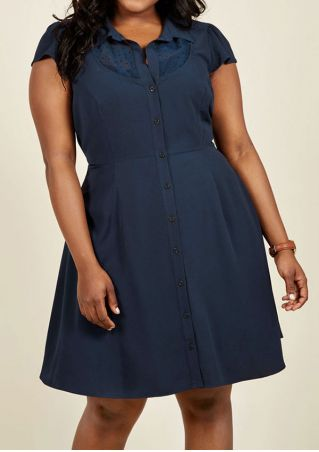 Plus Size Solid Button Short Sleeve Casual Dress