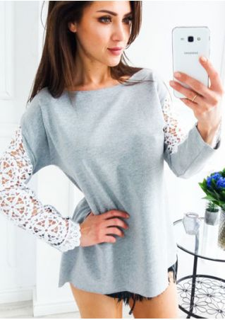 Lace Floral Splicing Long Sleeve Blouse