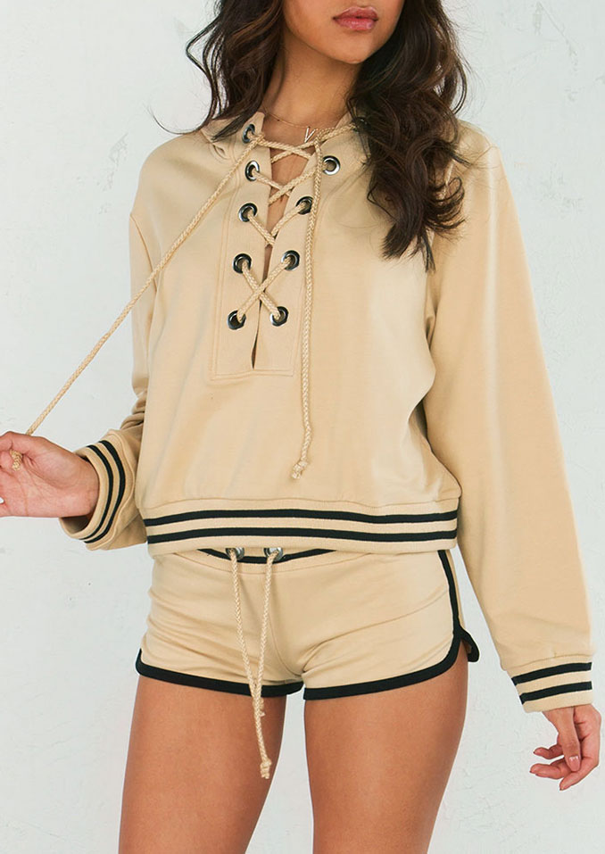 Lace Up Hoodie and Shorts Set