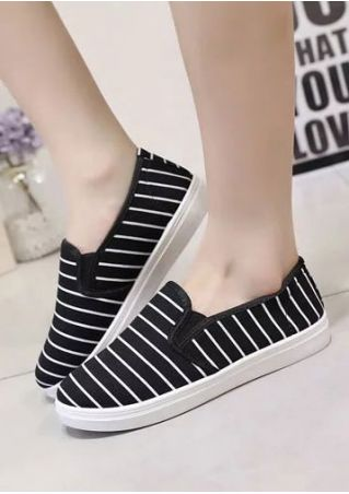 Striped Round Toe Slip-On Flats