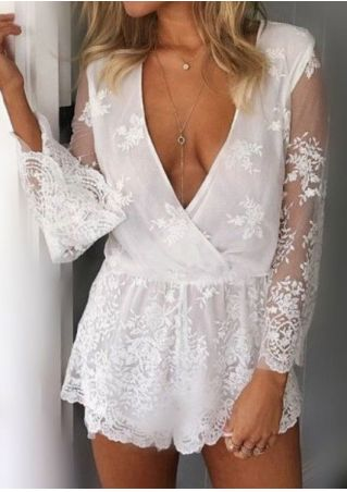 Solid Lace Floral Deep V-Neck Romper without Necklace