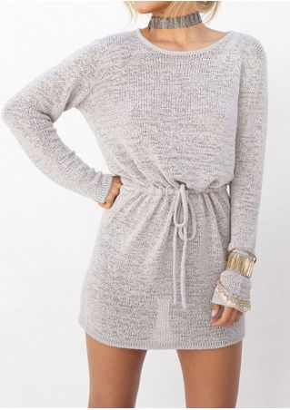 Solid Drawstring Mini Dress without Necklace