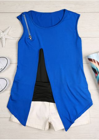 Splicing Zipper Asymmetric O-Neck Tank