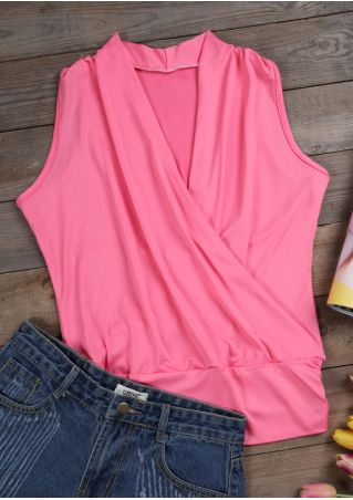 Solid Ruched Wrap V-Neck Tank