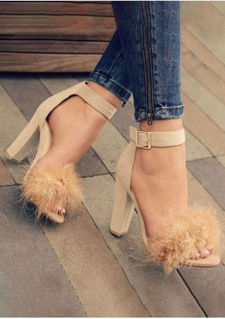 Solid Faux Fur Heeled Sandals