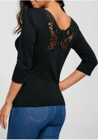 Solid Lace Splicing Hollow Out Blouse