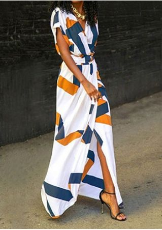 Printed V-Neck Split Maxi Dress without Necklace