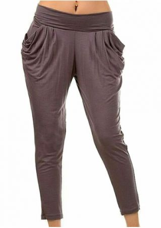 Plus Size Solid Pocket Elastic Waist Pants