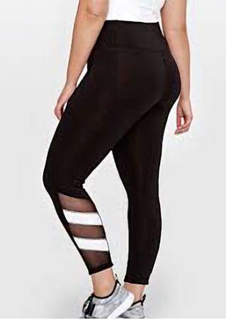 Plus Size Mesh Splicing Elastic Waist Sport Pants