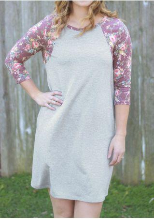 Floral Splicing Pocket Mini Dress