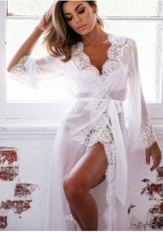 Solid Lace Splicing Mesh See-Through Sleepwear with Belt
