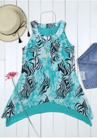 Printed Splicing O-Neck Tank