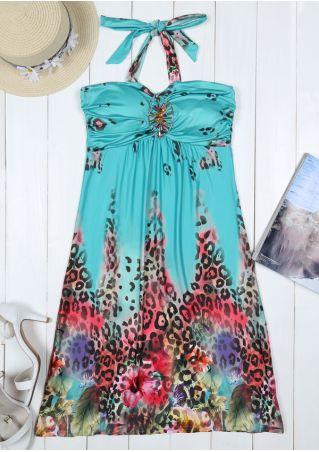 Floral Ruched Halter Mini Dress