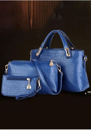 3PCS Solid Crocodile Printed Zipper Baby Mom Bag Set