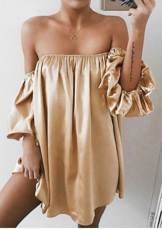 Solid Off Shoulder Mini Dress without Necklace