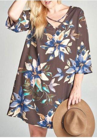 Plus Size Floral Criss-Cross V-Neck Mini Dress