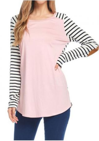 Striped Splicing Elbow Patch Blouse