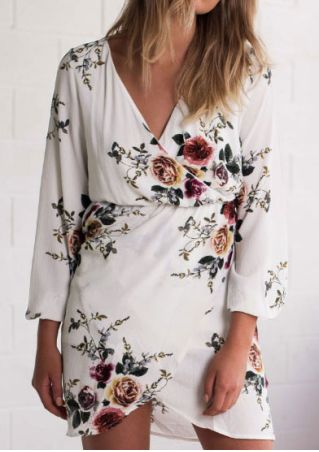 Floral Wrap V-Neck Mini Dress