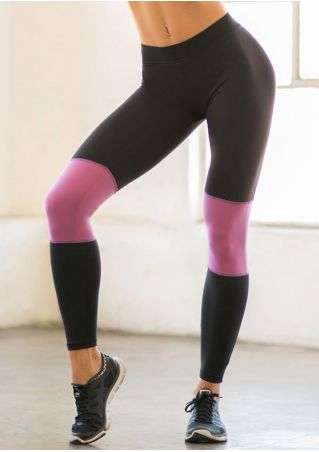 Color Block Elastic Waist Sport Pants