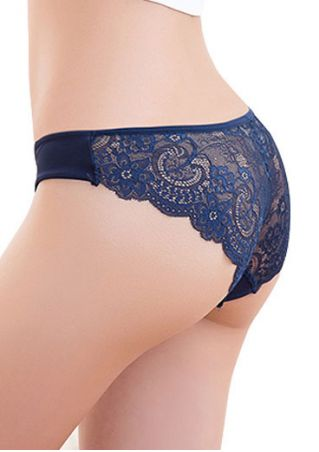 Solid Lace Floral Splicing Panties