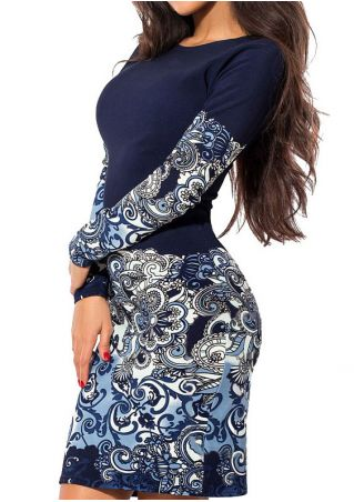 Printed O-Neck Long Sleeve Bodycon Dress