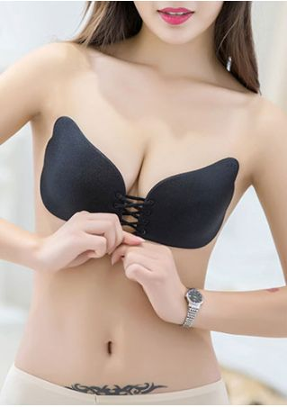 Solid Lace Up Silicone Adhesive Bra