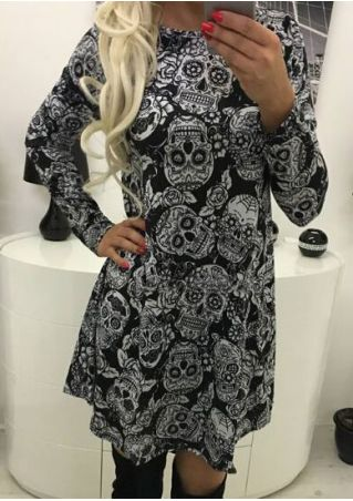 Floral Skull Long Sleeve Mini Dress