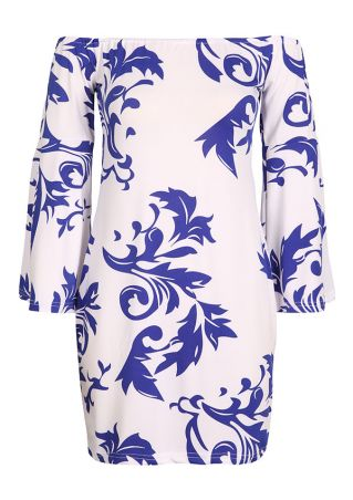 Printed Flare Sleeve Off Shoulder Bodycon Dress