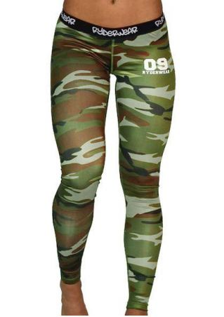 Camouflage Printed Letter Skinny Sport Pants