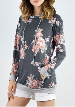 Floral Splicing Pocket Drawstring Hoodie